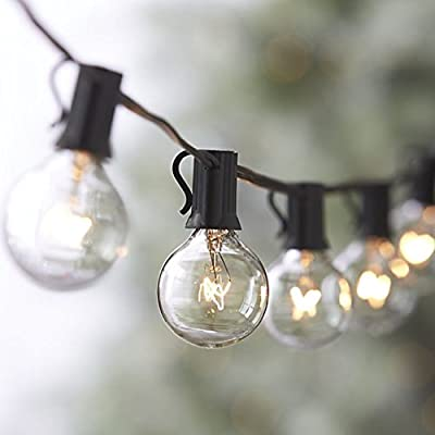 Outdoor Light Strings 100ft Patio String Lights - 100 foot White Light String w/ Clear G40 bulbs UL Edison Lights include spares Indoor/OutdoorOutdoor Light String 100ft Globe Patio String Lights - 100 foot Black or White Light Strings w/ Clear G40 bulbs