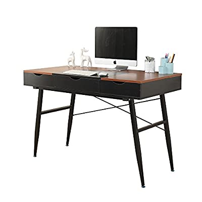 """Soges 47"""" Modern Computer Desk Home Office Desk with Drawers, Fully Assembled Desktop, Workstation Desk Writing Desk Modern Desk, Black & Teak CS-898-120-TBB - 【Easy Assemble】This computer desk only needs to install the legs, you don't need to waste your time figuring out how to assemble the drawer and boxes. The whole desk top comes fully assembled. 【Multiple Storage Space】Three flip storage boxes and the drawer in the middle provide large space to keep daily supplies which keeps your space clean and tidy. 【Quality Material】Overall Size: 47.2L * 23.6W * 29.5H inch; weights 55 lbs, load capacity 800 lbs. Environmental particle pressing wood with smooth wood finish, heavy-duty powder-coated metal which ensures stability. - writing-desks, living-room-furniture, living-room - 41g1rJ NBRL. SS400  -"""