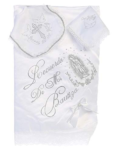 Baby Boy Girl Christening Baptism Unisex Infant Embroidered White Satin Blanket with Bib and Handkerchief Maria 1 English