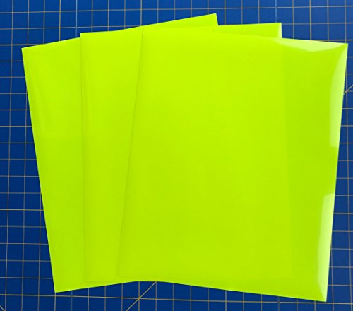 """Neon EasyWeed Iron On Heat Transfer, 3 12"""" x 15"""" Sheets, For Cricut, Silhouette and all Craft Cutters (Neon Yellow)"""