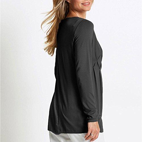 Bluse O-neck Casual Gerafft Row Imjono Basic Falten Massive Women T-shirt Langarm Dunkelgrau Top Damen