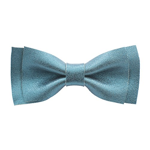 Bow Tie House Genuine Leather bow tie - unisex pre-tied shape (Medium, Sparkling Aqua Green) (Genuine Leather Tie)