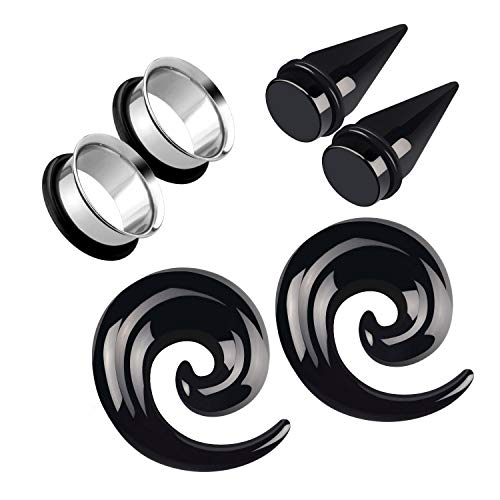 (Awinrel Acrylic Ear Gauge Spiral Taper Stretching and Stainless Steel Single Flare Plugs Flesh Tunnel Eyelet Kit with O-Ring 3 Pairs 3/4