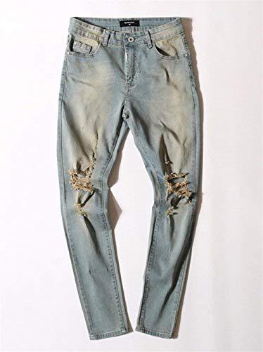 Vintage Alla Giovane Denim Fit Gelb Casual Effetto Da Pantaloni Buco Uomo Jeans Slim Moda Elasticizzati BaqYW8