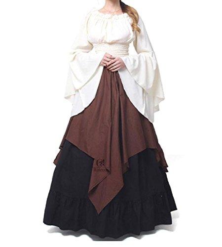 Picture Medieval Women Splice Graceful As Comfy Dress Hit Color Long Irish Vintage PU4xw