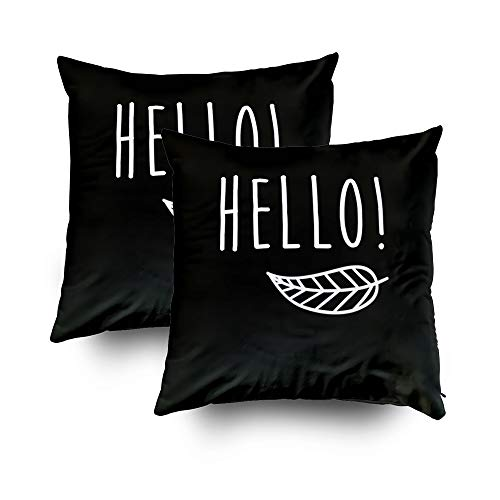 GROOTEY Decorative Cotton Square Set of 2 Pillow Case Covers with Zippered Closing for Home Sofa Decor Size 16X16Inch Costom Pillowcse Throw Cover Cushion,Halloween Hello Quotes Poster for $<!--$18.45-->