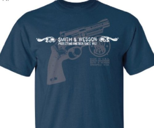 Smith and Wesson Protecting America Tee- Harbour Blue (Medium) (Smith And Wesson Schofield 45 For Sale)