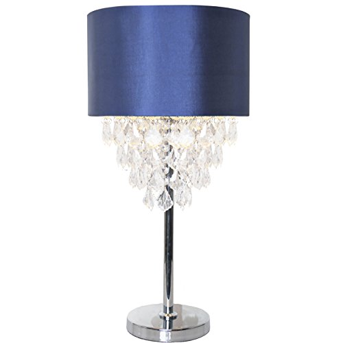 River of Goods 16430 Tiered Crystal and Chrome Table Lamp, Navy Blue - Reflects Chrome Table Lamp