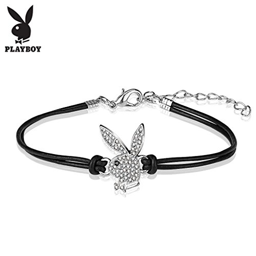 West Coast Jewelry Playboy CZ Pave Bunny Charm Leatherette and Brass Bracelet - 7