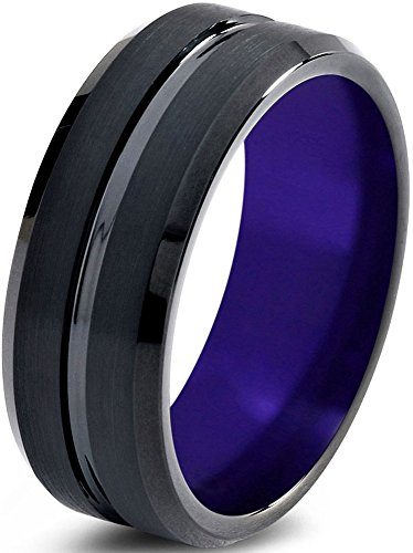 Tungsten Wedding Band Ring 10mm for Men Women Purple Black Beveled Edge Brushed Polished Lifetime Guarantee