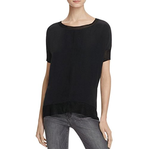 Bailey 44 Womens Leto Jersey Contrast Trim Casual Top Black M