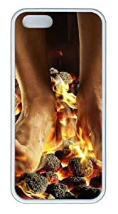 April Fools Coals Fire Feet TPU White sell iphone 5 case for Apple iPhone 5/5S