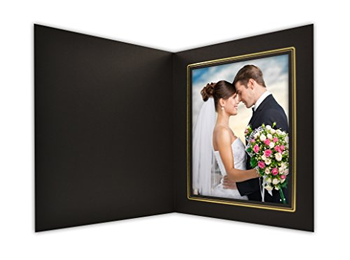 Golden State Art, Cardboard Photo Folder for a 6x8 Photo, (Pack of 25) Black with Gold Lining by Golden State Art