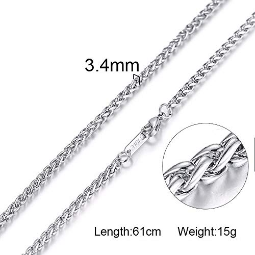 Silver Tone Snake Curb Link Flat Box Wheat Chains | Stainless Steel Men Necklace | Choker Jewelry 24 Inch 3-6mm