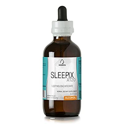 Sleepix A120 Alcohol Herbal Extract Tincture, Organic Herbs (Valerian Root, St. John's Wort Herb and Flower, California Poppy Herb and Flower, Chamomile Flower) (4 fl oz)