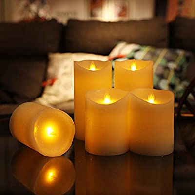 Flameless Candles Battery Operated Candles Pillar Ivory Real Wax Electric Candles with Remote and Timer: Home Improvement