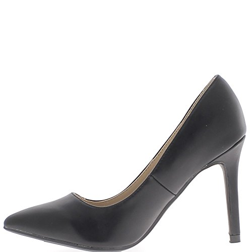 Escarpins noirs à talons fins de 10cm bouts pointus aspect cuir