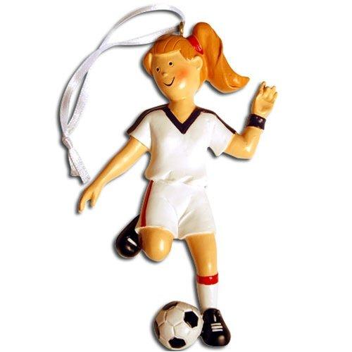 ChalkTalkSPORTS Soccer Player Christmas Ornament | Girl | Blonde
