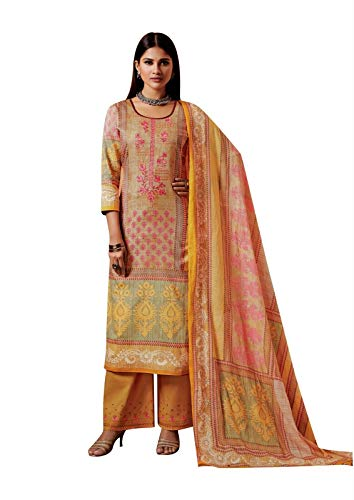 Ladyline Cotton Embroidered Salwar Kameez with Cotton Dupatta Palazzo Pants Indian Pakistani Salwar Suit (Size_36/ Beige)