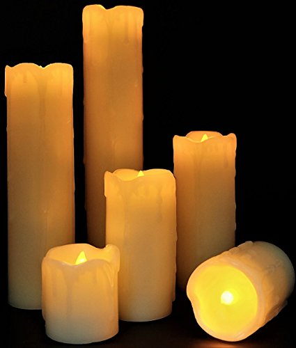 Best Flameless Timer LED Candles - Slim Set of 6, 2' Wide and 2'- 9' Tall, Ivory dripping Wax and Flickering Amber Yellow Flame by LED Lytes Flameless Candles Product I