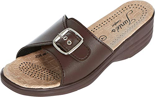 (Junie's Comfort Sandals for Women | Slip-on Style | Open Toe | Low Platform Wedge | Slides | Summer Sandal, 7769-Single Buckle, Brown, Size 8)