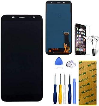 Xlhama Pantalla LCD Compatible con Samsung Galaxy J6 J600 2018, Color Negro con Kit de Herramientas de reparación Adhesivo, lámina de Vidrio Templado