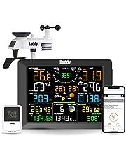 Raddy WF-100C Weerstation met buitensensor radio, 14-in-1 wifi-binnen-buitenthermometer met 10 inch digitaal kleurendisplay, windmeter, regenmeter, zonnesensor voor thuis, kantoor, tuin