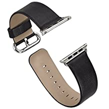 Apple Watch Band Series 1/Series 2, iitee Genuine Leather Strap Band for Apple Smart Watch Replacement with Metal Buckle (42mm black)