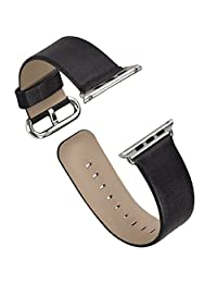 Apple Watch Band, iitee Genuine Leather Strap Band for Apple Smart Watch Replacement with Metal Buckle (38mm black)
