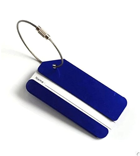 GADIEMENSS Metal Equipaje De Viaje Etiquetas de Identificación de Etiquetas Maleta de Equipaje Azul 2PCS