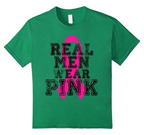Kids PREMIUM Breast Cancer Awareness Tshirt Real Men Wear Pink 8 Kelly (Pink Ribbon Green T-shirt)