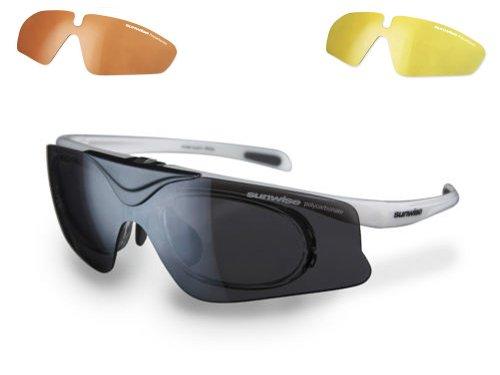 Sunwise Austin 3objectif de sports Flip Lunettes de soleil Blanc/fumé, Jaune, Kaki avec insert optique gratuit
