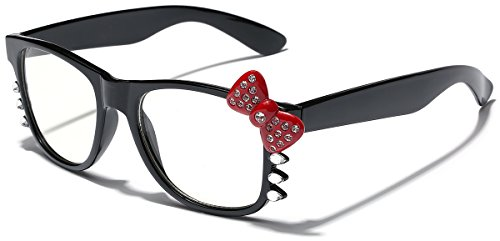 Hello Kitty Womens Girls Rhinestone Clear Lens Sunglasses - Black with Red Bow