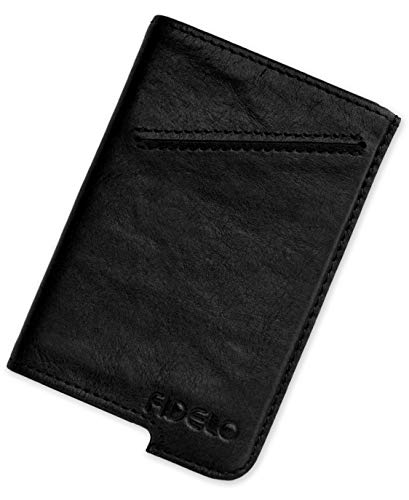 FIDELO Minimalist Wallet for Men - Slim Credit Card Holder RFID Mens Wallets with Leather Case (CASE ONLY