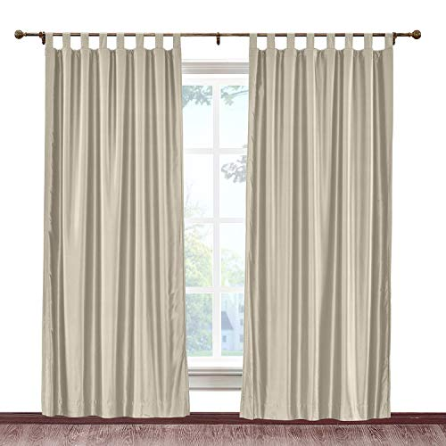 cololeaf Extra Wide Soft Faux Dupioni Silk Curtain Panel Tab Top Hanging Style Energy Efficient Home Fashion Drape for Bedroom Living Room, Beige 150