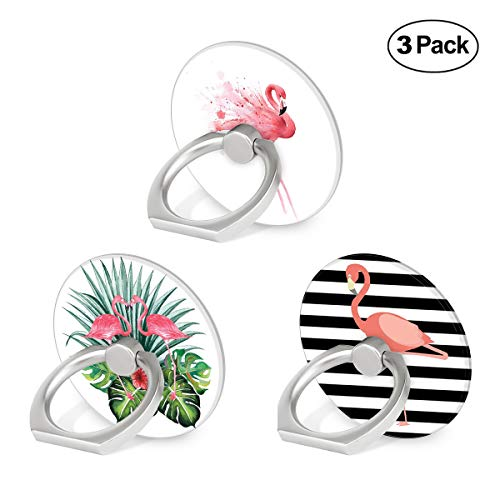 Cell Phone Ring Holder, 3-Pack 360 Degree Rotation Universal Pop Grip Stand Anti- Drop Finger Holder for Smartphone and Tablets - Pink Flamingo