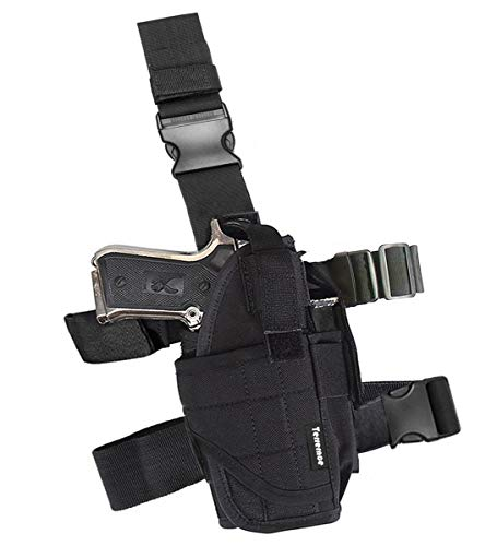 (Terrernce Molle Tactical Pistol Thigh Gun Holster, Drop Leg Holster, Right Hand Adjustable)