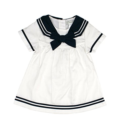 Carriage Boutique Baby Girl Spring Sailor Dress - Nautical Navy White, 2T (Toddler)