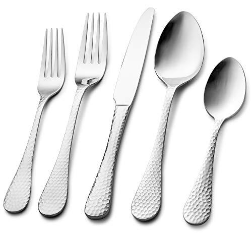 (Nehdar Scarlet 18/10 Premium & Modern Stainless Steel Flatware and Silverware Set 40 Piece Serves 8 Dishwasher Safe)