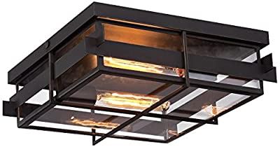 "Eurofase 28055-013 14"" Long Muller Paneled Framework Flushmount with Clear Glass Shade and 2 Edison Light Bulbs, Large, Weathered Bronze Metal"
