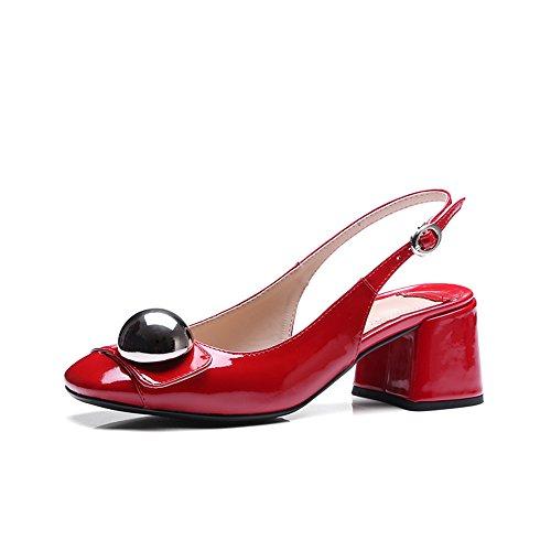 Nine Seven Cuero Sandalias de Vestir de Tacón Grueso para Mujer Rojo