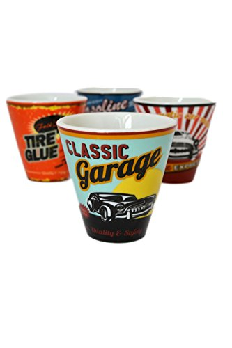 Set 4 pc Retro 1950's Vintage-Style Auto Garage Espresso Coffee Demitasse Cups
