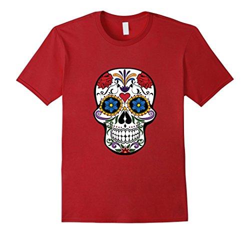 Mens Sugar Skull Costume Halloween Day of The Dead Calavera Shirt 3XL (Red Sugar Skull Halloween Costume)