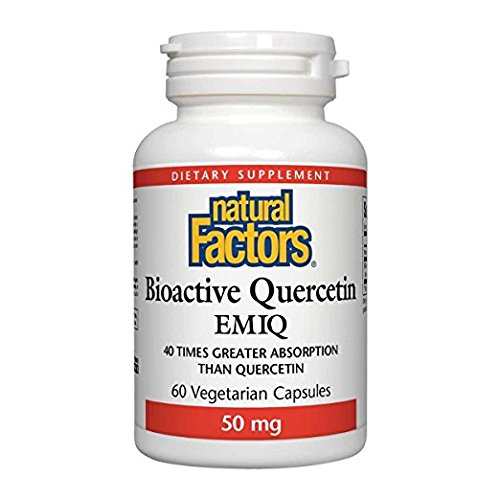 Natural Factors Bioactive Quercetin EMIQ 50mg, Easy to Absorb Support for Immunity and Heart Health, Easily Absorbed Cardiovascular Care, 60 Vegetarian Capsules