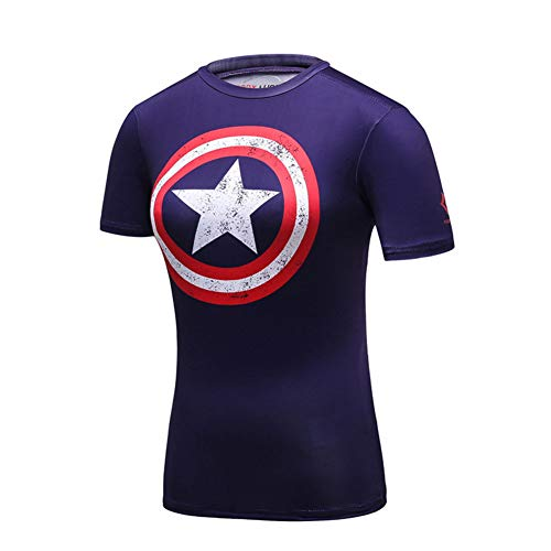Short Sleeve Captain America Compression Shirt Womens Cosplay Costume M -