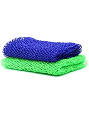 African Net Sponge, Scrub Mesh Body Exfoliating Net Long African Net Bath Sponge Exfoliating Shower Body Scrubber Back Scrubber Skin Smoother for Daily Use or Stocking Stuffer ( 2Pcs Blue Green )