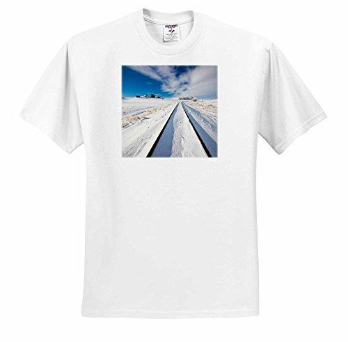 Danita Delimont - Washington - Washington State, Pullman, Railroad tracks running through the snow - T-Shirts - Youth T-Shirt Large(14-16) - Running Snow Through