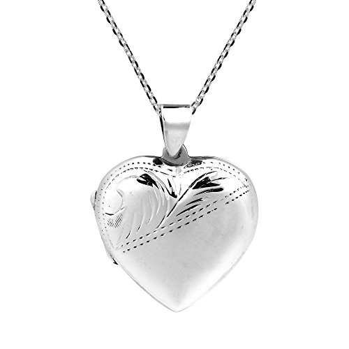 - AeraVida Vintage Secret of Heart Locket .925 Sterling Silver Etched 24 mm Pendant Necklace