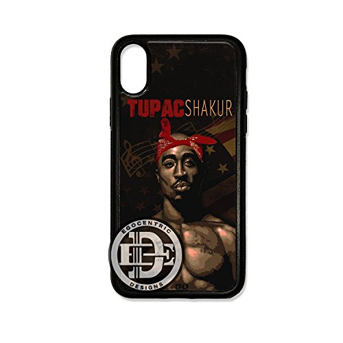 - (iPhone Xs) EGOCENTRIC DESIGN & CO. Makaveli Famous Rap Legend Fan Art TPU Rubber Silicone Case