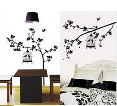 Wall Cage Art (1 X Hotportgift Bird Cage Tree Removable Wall Sticker Home Decor Decal Art Large Size)